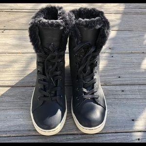 Women's UggPure black fur lined boots, 7.5